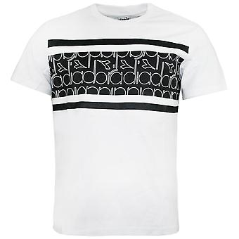 Diadora Mens T-Shirt Graphic Design Branded Top White 173627 C7717