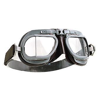 Halcyon MK8 Service Grey Brown Motorcycle Retro Vintage Style Goggles