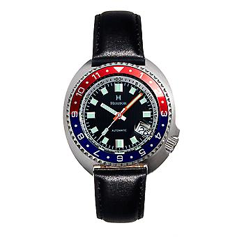 Heritor Automatic Pierce Genuine Leather-Band Watch w/Date - Black/Red&Blue