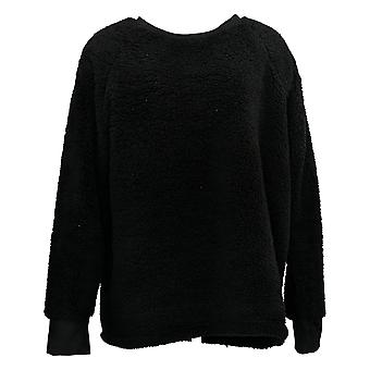 Cuddl Duds Women's Sweater Shaggy Sherpa Pullover Black A381801