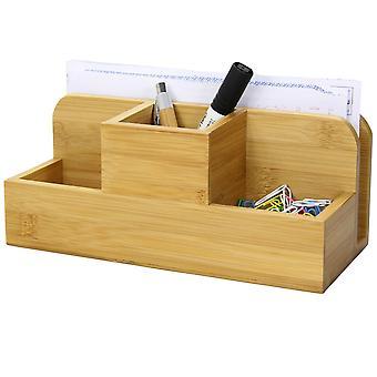 Woodquail Bamboo Desk Stationery Organiser - Pen Pencil Letter Rack Holder
