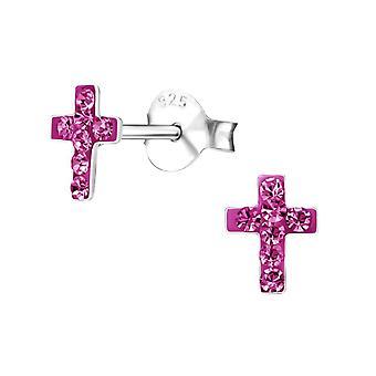 Children's Sterling Silver Pink Cross Stud Earrings