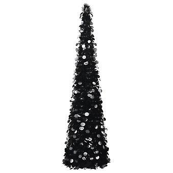 vidaXL الاصطناعي المنبثقة شجرة عيد الميلاد الأسود 150 سم PET