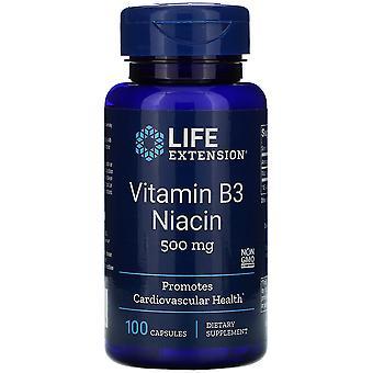 Life Extension Vitamine B3 Niacine 500 mg 100 Gélules