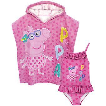 Peppa Pig Girls Badpak & Hooded Handdoek Poncho | Kinderen roze zwemmen en towelling robe | Cadeau voor kinderen