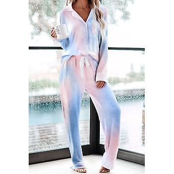Blue Pink Tie-dye Long Sleeve Shirt With Pants Pajamas Set