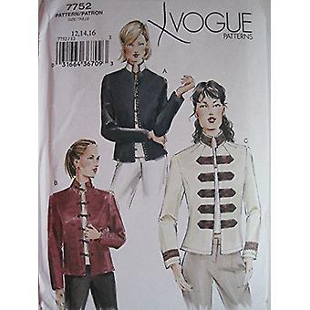 Vogue Coser Patrón 7752 Misses Ladies Chaqueta Tallas 18-22