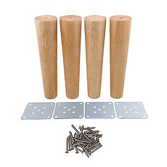 4 pcs 25cm Height Wood Tapered Furniture Feet Sofa Tea Table Legs