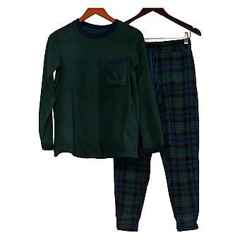 Cuddl Duds Women's Petite Fleecewear Stretch Jogger Pajama Set Green A399349