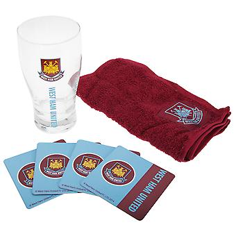 West Ham FC officielle Wordmark Mini fodbold Bar sæt (Pint glas, håndklæde & øl måtter)