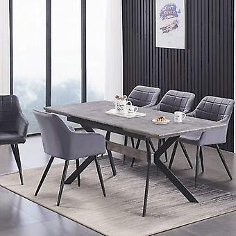 Lusso & Romeo: Mesa & Cadeiras de Veludo Conjunto de jantar | Cadeiras acolchodas de almofada | Sala de Jantar Cinzas/Mesa preta | Mesa de Jantar Moderna | Conjunto de mesa de jantar | (Cinza escuro)