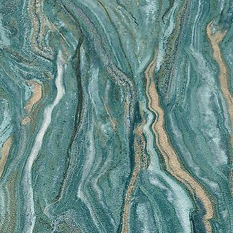 Elle Decoration teal marble wallpaper