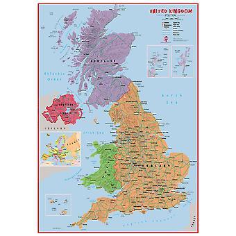 Stor primär brittisk väggkarta politisk (papper)