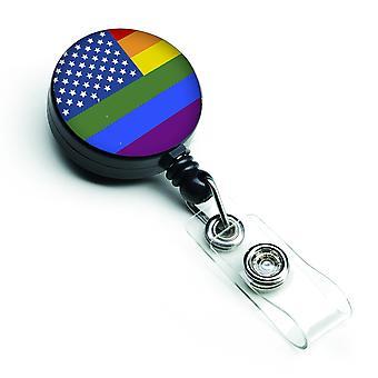 Carolines Treasures  CK8013BR USA Gay Pride Retractable Badge Reel