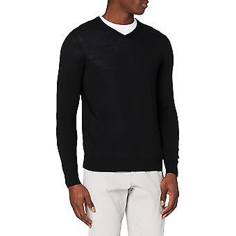 Meraki Men's Fine Knit, Merino Wool, Slim Fit, V-Neck Sweater, Black, XL (US L - XL)