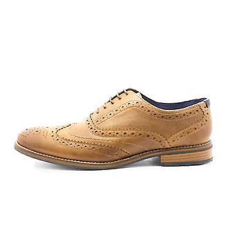 Front Diego Leather Brogue Punch Lace Shoe