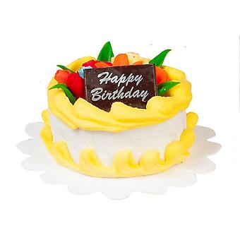 Dolls House Żółty Tort urodzinowy Miniaturowe Obchody Party Shop Akcesoria
