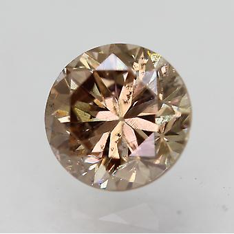 Cert 0.65 Carat Vivid Brown VS2 Round Brilliant Enhanced Natural Diamond 5.38mm