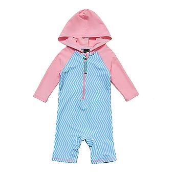 Baby Meisjes One Piece Badpakken UPF 50 + Zonbescherming 3/4 Hooded Sunsuit