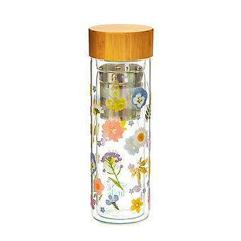 Sass &Belle Pressed Flowers Botella de agua de cristal con infusor