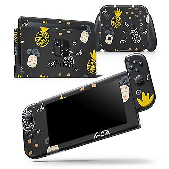 Golden Yellow Pineapple Over Black - Skin Wrap Decal For Nintendo