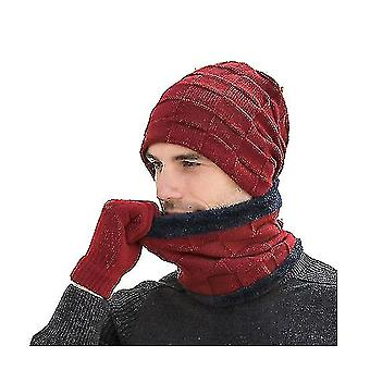 Print Scarf Cashmere Feel Warm Winter Neck Wraps Pashmina Shawls(RED)