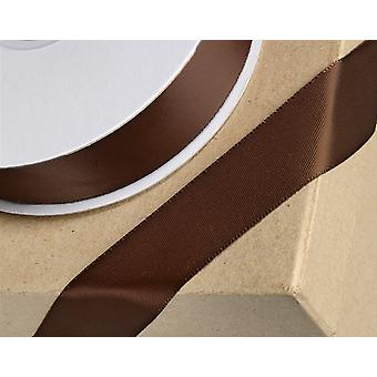 25m Chocolate Brown 15mm Wide Satin Ribbon for Crafts