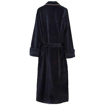 Bown of London Duchess Plain Velour Dressing Gown - Navy