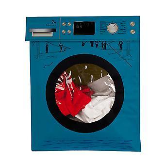 Biggdesign Panier à linge sale, Conception en tissu pliable, Chariot sale, Couleur bleue, Installation pratique, Utilisation fonctionnelle