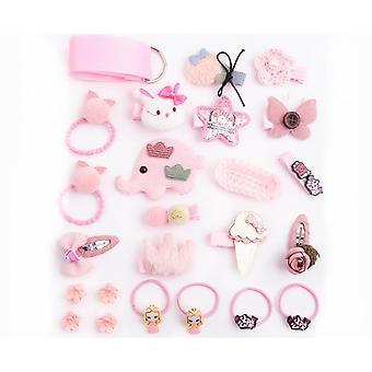 24Pcs Children'S Hair Ornament Set Girl'S Butterfly Tie Cartoon Clip Headdress Set - H Pink