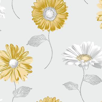 Muriva Daisy Grey Ocrre Wallpaper 111508