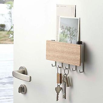 Household storage bags wall hung type wooden decorative wall shelf sundries hanger / organizer key