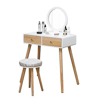 Dressing table desk with mirror and stool - 80 x 40 x 125 cm