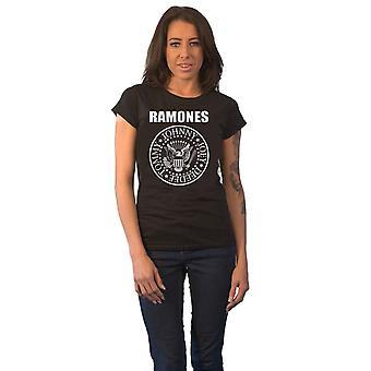 Ramones T Shirt Presidential Seal Band Logo Officiell Womens Skinny Fit Svart