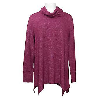 Soft & Cozy Women's Sweater Plus Cowl-Neck Handkerchief Hem Purple 663256