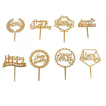 Happy Birthday Topper, 8pcs Shiny Gold Acrylic Baking Cake Toppers Decorations For Cupcake Toppers Desserts Pastries, 8 Styles