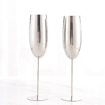 2 Pcs 250ml Stainless Steel Goblet Champagne Glasses Flute Red Wine Cocktail Cup Bar