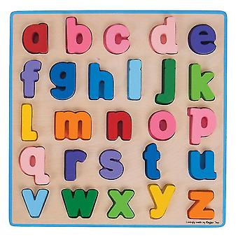 Wooden pegged puzzles chunky alphabet puzzle lowercase - educational jigsaw