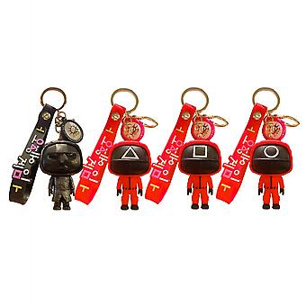 4 Pack 3d Squid Game Keychain Pendant Silicone Key Ring With Wristlet Bag Charm Game Fans Gifts For Adults Kids Women Men
