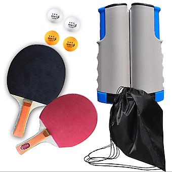 TischtennisSchläger & Net & Post Set Tragbare Schläger Bälle Ausziehbar