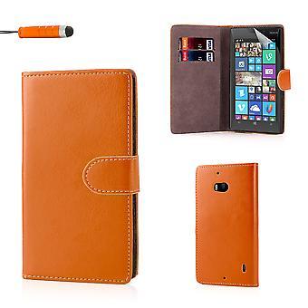 Buch-Brieftasche PU Leder Case Cover für Nokia Lumia 930 + Stift - Orange