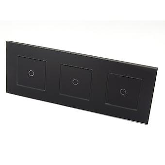 I LumoS Luxury Black Glass Frame & Black Insert Touch Controlled LED Light Switches