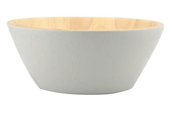 SALAD BOWL IDEAL FOR SALAD OR FRUIT STYLISH PRACTICAL ECO FRIENDLY HAND WASH RECOMMENDED WOOD FINISH IN GREY AND NATURAL COLOUR SIZE 10CM(H)X25CM(D)
