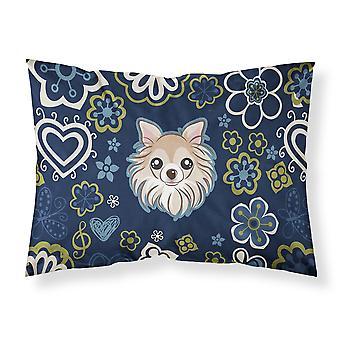 青い花チワワ ファブリックの標準的な枕