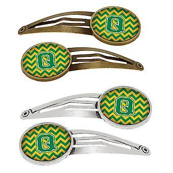 Letter Q Chevron groen en goud-Set van 4 haarspeldjes Hair Clips