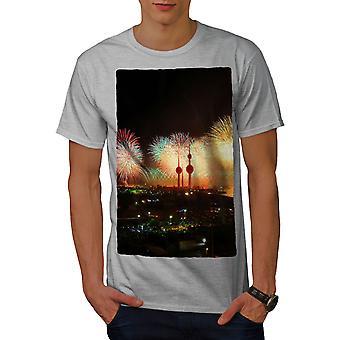 New Year Firework Men GreyT-shirt | Wellcoda
