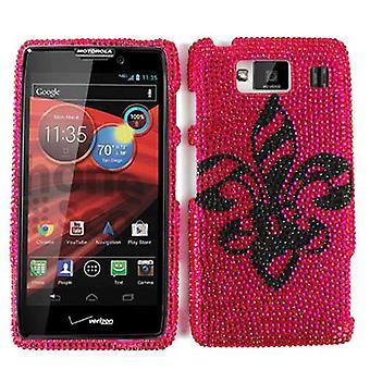 Unlimited Cellular Full Diamond Crystal Cover for Motorola XT926 Droid Maxx HD (Black Royal Badge on Pink)