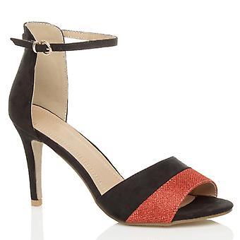 Ajvani damskie wysoki obcas Strona kostki mankiet pasek kontrastu dwóch ton sandały sztylet peep toe buty