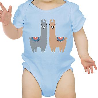 Lama patroon Baby Romper Gift hemelsblauw