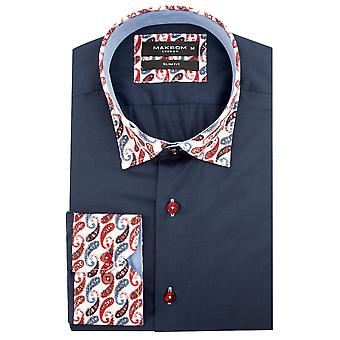 Oscar Banks Cotton Paisley Collar And Cuff Mens Shirt